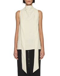 Tom Ford Silk Marocain Cross Back Blouse Beige