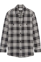 Saint Laurent Plaid Brushed Stretch Cotton Shirt Black