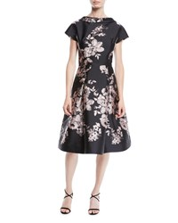 bedce0fc599 Rickie Freeman For Teri Jon High Neck Cap Sleeve Fit And Flare Floral  Jacquard Cocktail Dress