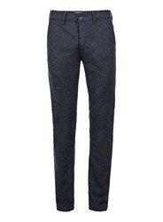 Topman Blue Navy Slim Fit Textured Stretch Chinos