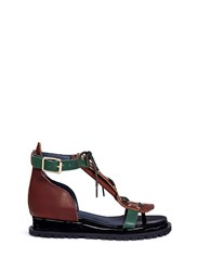 Sacai Lace Up Cowhide And Patent Leather Wedge Sandals Multi Colour