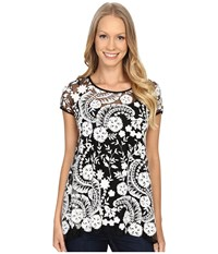 Karen Kane Embroidered Lace Flare Top Black Cream Women's Blouse