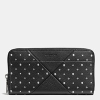 Coach Accordion Wallet In Bandana Patchwork Leather Black