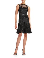 Teri Jon Illusion Neck Layered Dress Black
