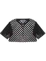 Andrea Crews Cropped Lattice Laser Cut Top Black