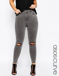 Asos Curve Ridley Skinny Jeans In Slated Gray With Shredded Rips Washed Gray