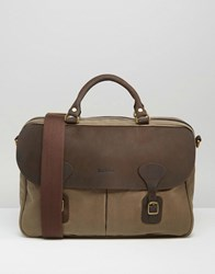 Barbour Wax Briefcase In Stone Stone