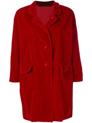 Daniela Gregis Velvet Single Breasted Coat Red