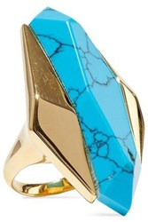 Noir Jewelry Woman 14 Karat Gold Plated Stone Ring Turquoise