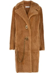 Coach Long Shearling Coat Brown