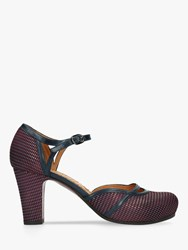 Chie Mihara Inri Block Heel Ankle Strap Court Shoes Dark Red Leather
