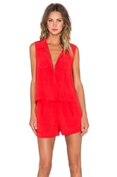 Splendid Rayon Voile Button Up Romper Red