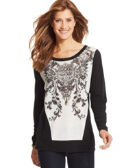 Style And Co. Plus Size Long Sleeve Printed Top