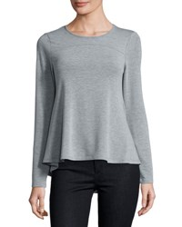 Neiman Marcus Round Neck Long Sleeve Swing Top Light Gray