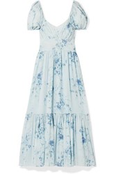 Loveshackfancy Angie Gathered Floral Print Silk Georgette Maxi Dress Light Blue