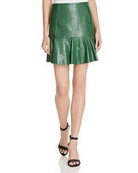 Rebecca Taylor Embossed Leather Skirt Emerald
