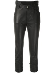 Andrea Bogosian Cropped Faux Leather Trousers Black