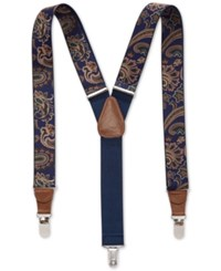 Club Room Stretch Paisley Print Suspenders Only At Macy's Navy Tan