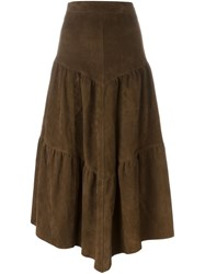 Saint Laurent Long Frill Skirt Brown
