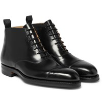 George Cleverley William Cap Toe Horween Shell Cordovan Leather Boots Black