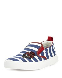 Gucci Striped Canvas Sneaker Navy White Size 10.5G 11.5Us