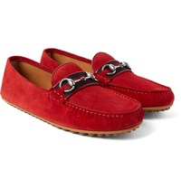 Gucci Horsebit Webbing Trimmed Suede Driving Shoes Crimson