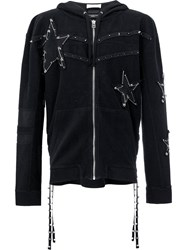 Faith Connexion Pin Embellished Stars Hoodie Women Cotton Xl Black