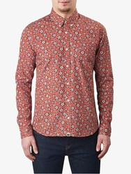 Pretty Green Wynne Slim Fit Floral Print Shirt Dark Red