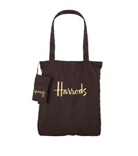 Harrods Logo Pocket Shopper Bag Brown