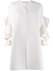 Valentino Ruffle Sleeve Coat White