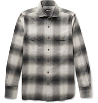 Tom Ford Slim Fit Cutaway Collar Checked Cotton Flannel Shirt Gray
