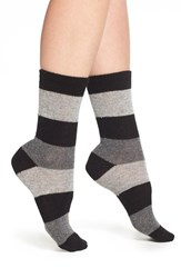 Nordstrom Women's 'Luxury' Patterned Crew Socks Black W Grey