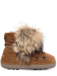 Dsquared Riri Racoon Fur And Suede Snow Boots Tan