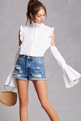 Forever 21 Open Shoulder Ruffle Top