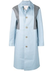 Mackintosh Panelled Bonded Coat Blue