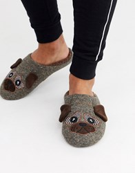 Totes Pug Novelty Slipper In Brown
