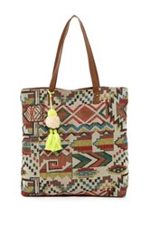 T Shirt And Jeans Woven Pom Pom Tote Multi