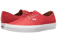 Vans Authentic Decon Premium Leather Racing Red True White Skate Shoes