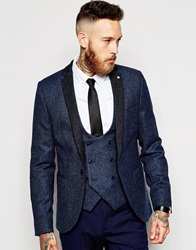 Noose And Monkey Woven In England Herringbone Blazer In Skinny Fit Navy
