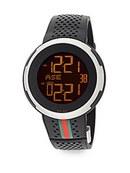 Gucci Digital Stainless Steel And Rubber Strap Watch No Color