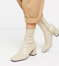 Monki Stretch Ankle Boots With Block Heel In Beige
