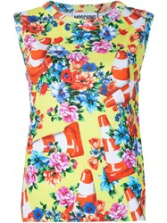 Moschino Floral And Traffic Cone Shell Top Green
