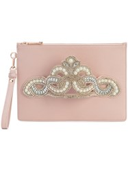 Sophia Webster Embellished Hand Strap Clutch Pink And Purple