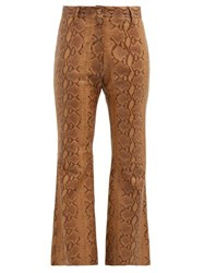 Nili Lotan Vianna Python Print Leather Trousers Brown