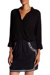 Velvet By Graham And Spencer Challis Surplice Wrap Blouse Black