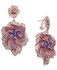 Joan Boyce Rose Gold Tone Stone And Pave Flower Drop Earrings Pink