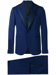 Versace Single Breasted Jacquard Detailed Suit Blue
