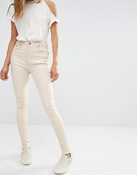 Liquor And Poker High Rise Ankle Skinny Jeans With Raw Hem Ecru Cream