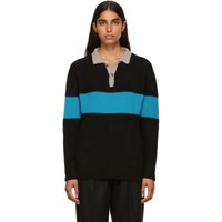 The Elder Statesman Black And Blue Rugby Stripe Polo