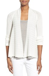 Women's Eileen Fisher Ribbed Tencel Short Cardigan Soft White